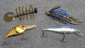 Recommended Lures: Top left: swamp bug Top right: jig Bottom left: wiggle wart Bottom right: jerk bait